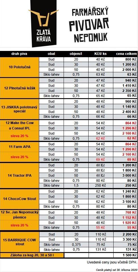Ceník Zlatá kráva od 30.3.2020